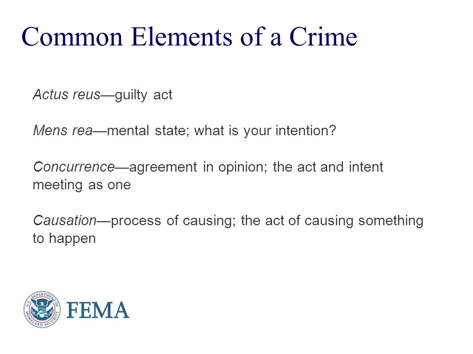 Common Elements of a Crime