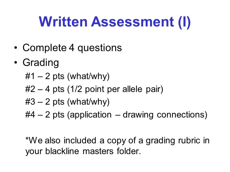 Written Assessment (I)