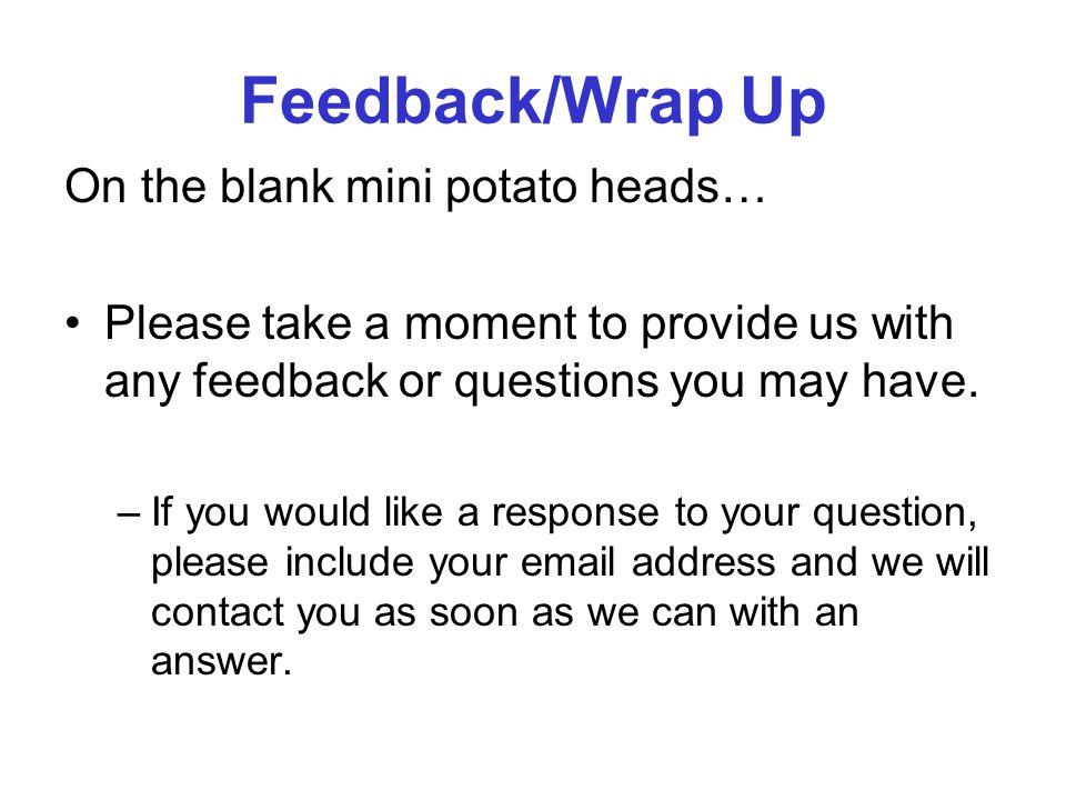 Feedback/Wrap Up On the blank mini potato heads…