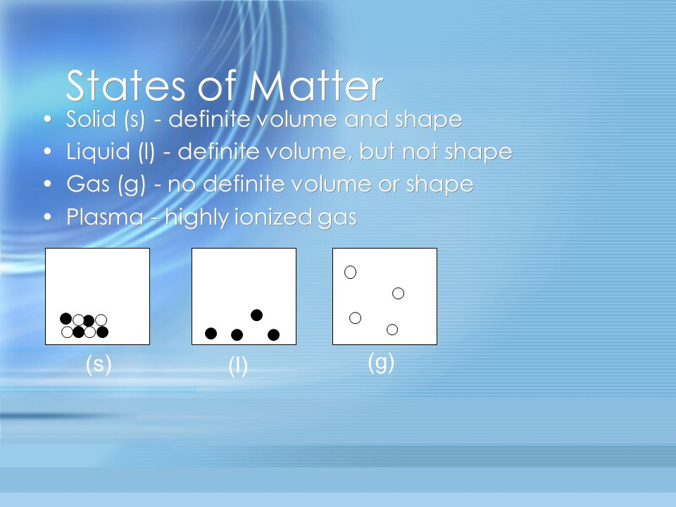 States of Matter Solid (s) - definite volume and shape
