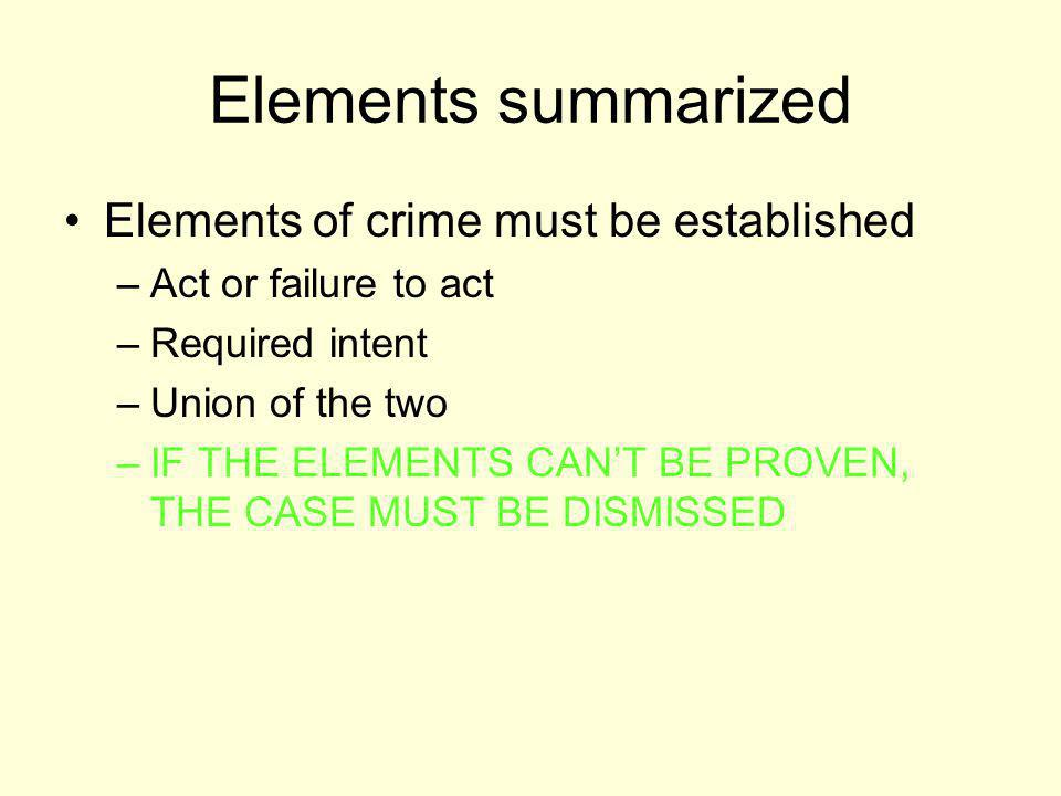 Elements summarized Elements of crime must be established