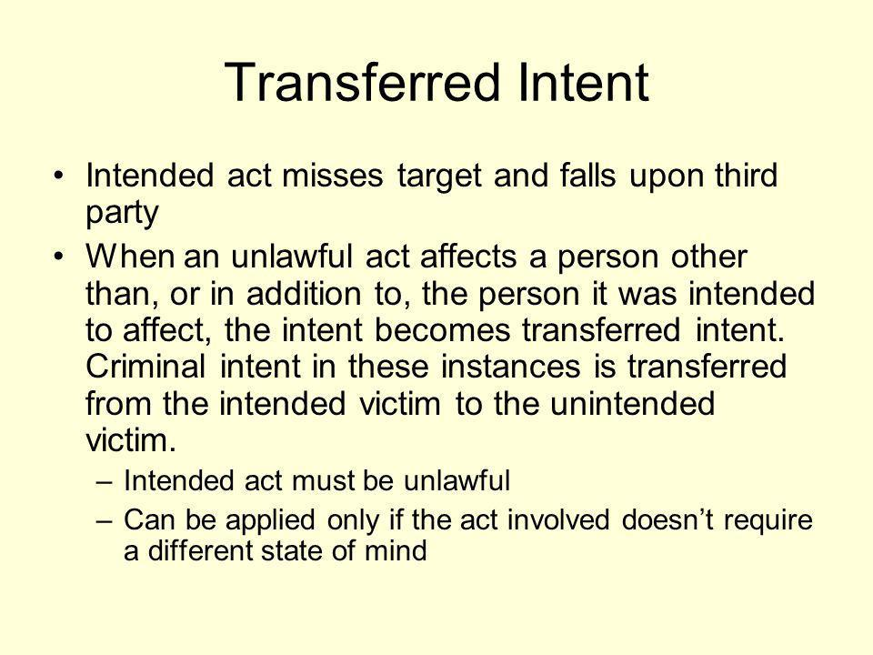 Transferred Intent Intended act misses target and falls upon third party.