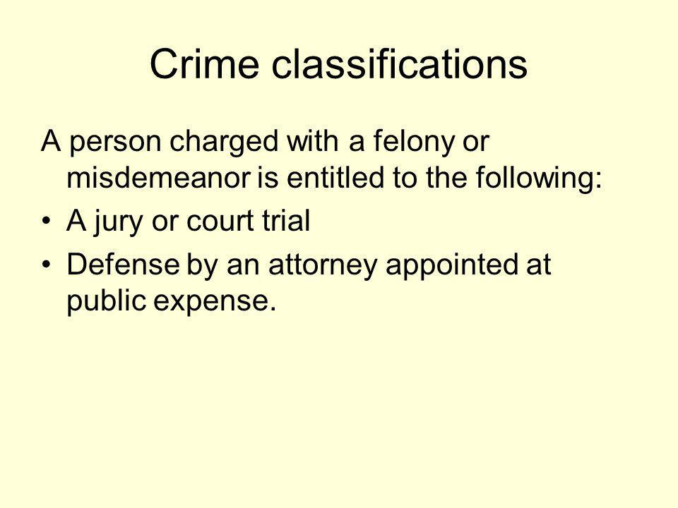 Crime classifications