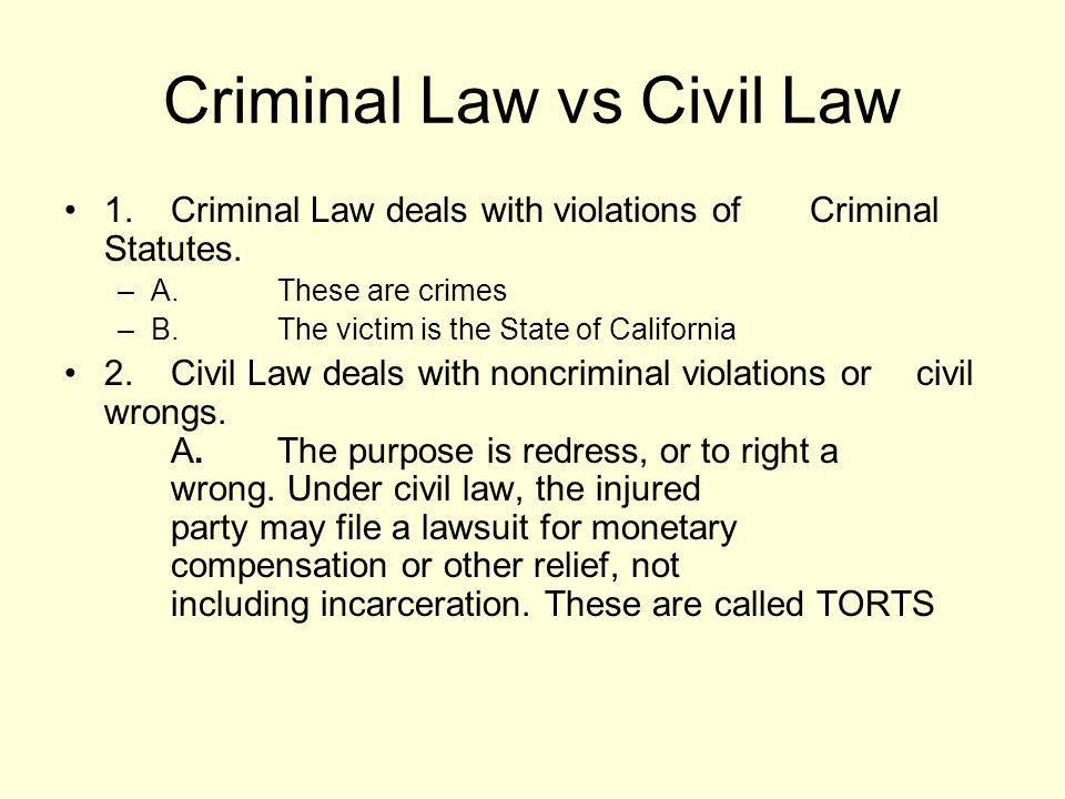 Criminal Law vs Civil Law