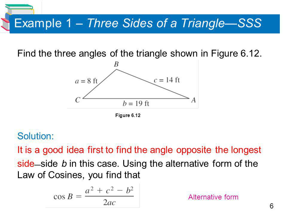 Example 1 – Three Sides of a Triangle—SSS