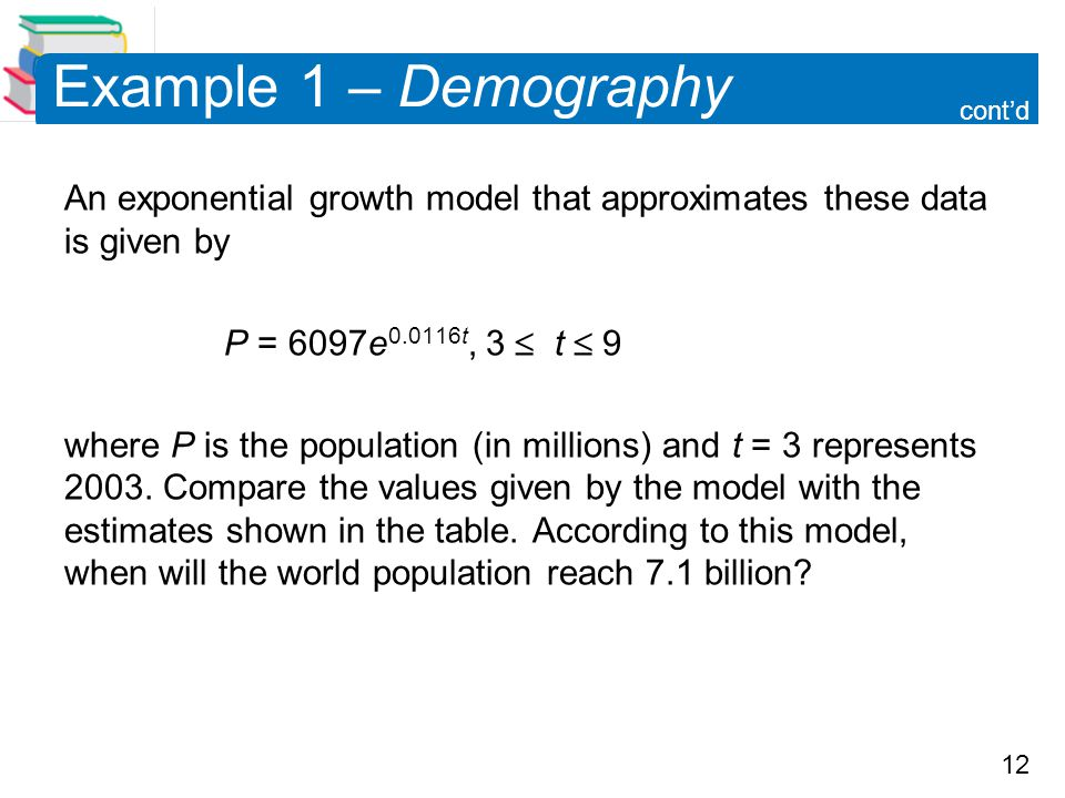 Example 1 – Demography cont'd. An exponential growth model that approximates these data is given by.
