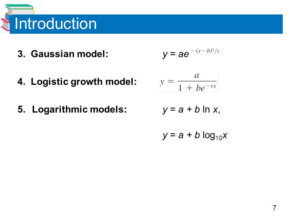Introduction 3. Gaussian model: y = ae 4. Logistic growth model: