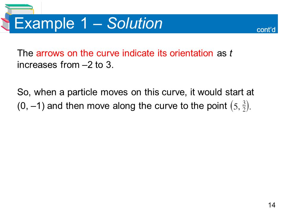 Example 1 – Solution cont'd. The arrows on the curve indicate its orientation as t increases from –2 to 3.