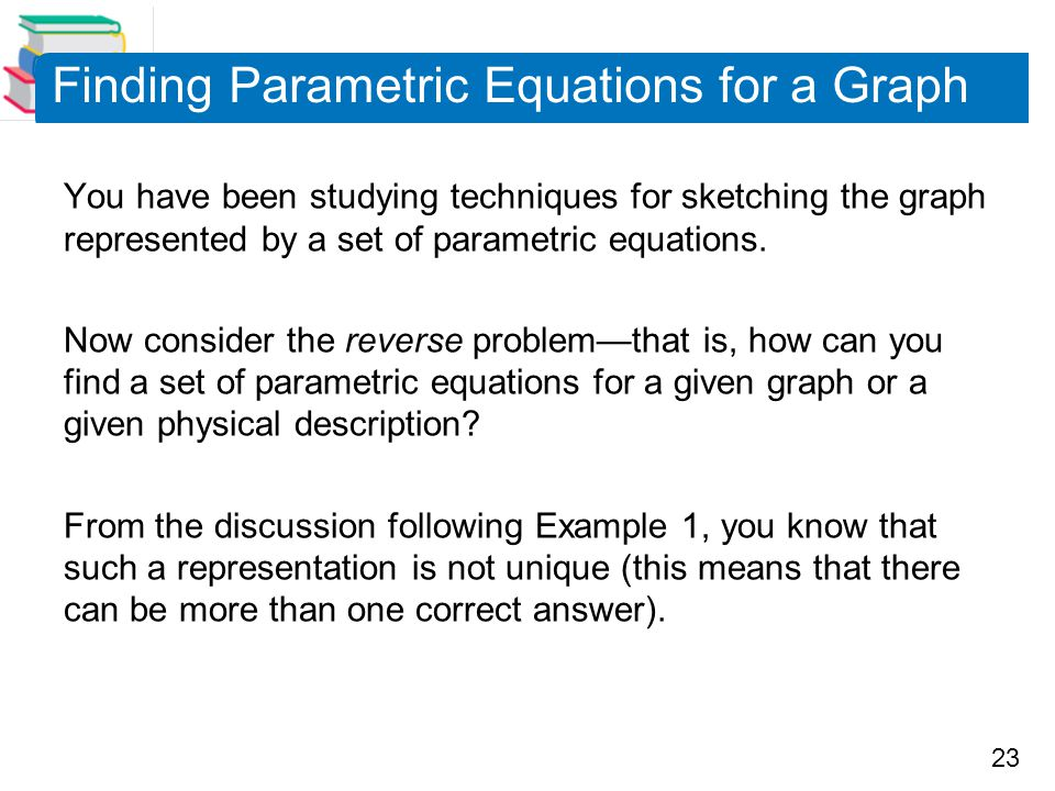 Finding Parametric Equations for a Graph