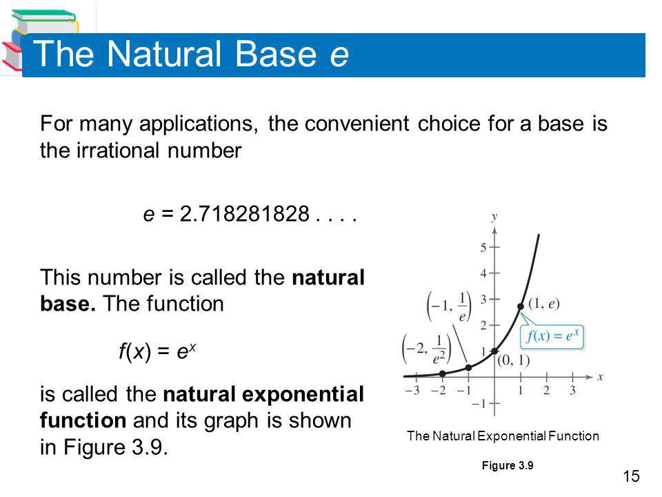 The Natural Base e For many applications, the convenient choice for a base is the irrational number.