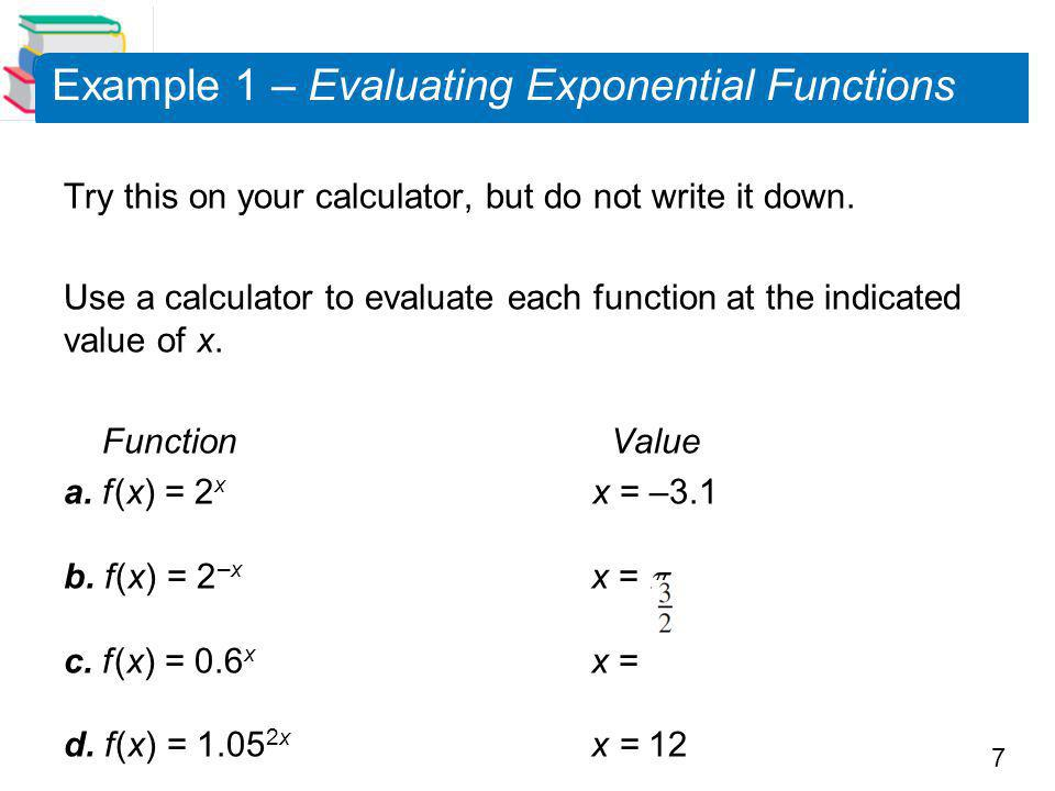 Example 1 – Evaluating Exponential Functions