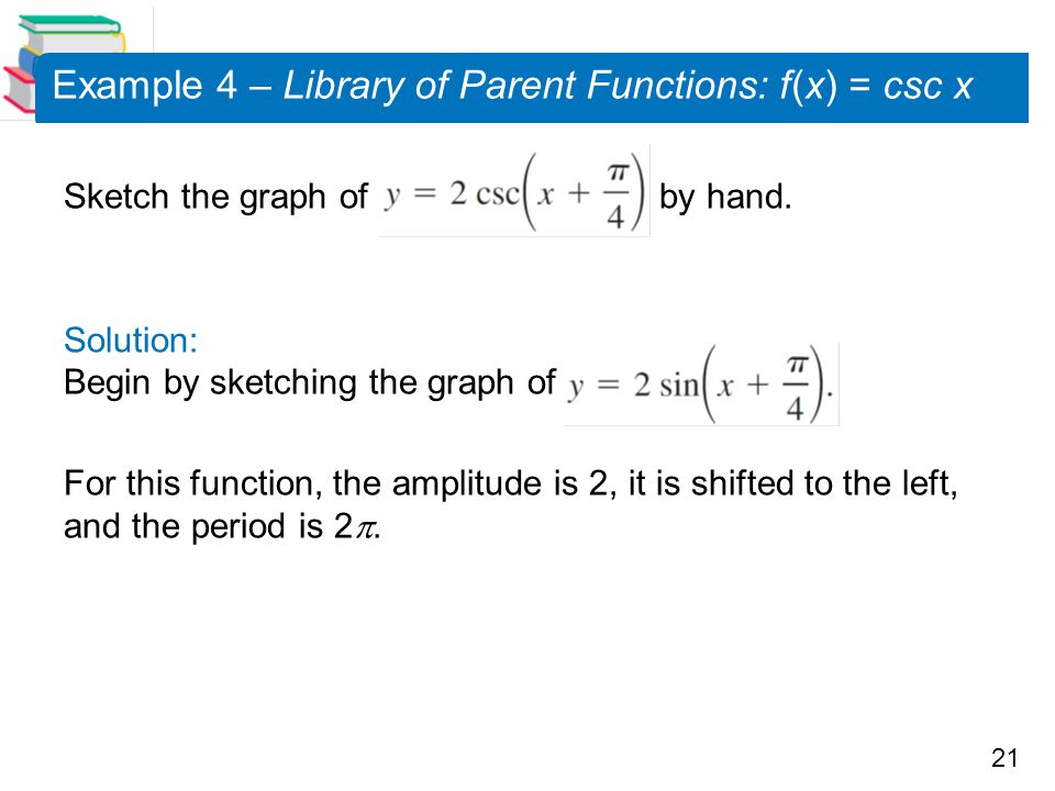 Example 4 – Library of Parent Functions: f (x) = csc x