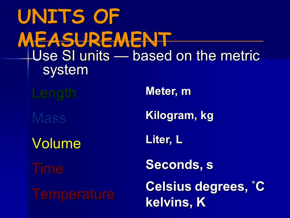 UNITS OF MEASUREMENT Use SI units — based on the metric system Length