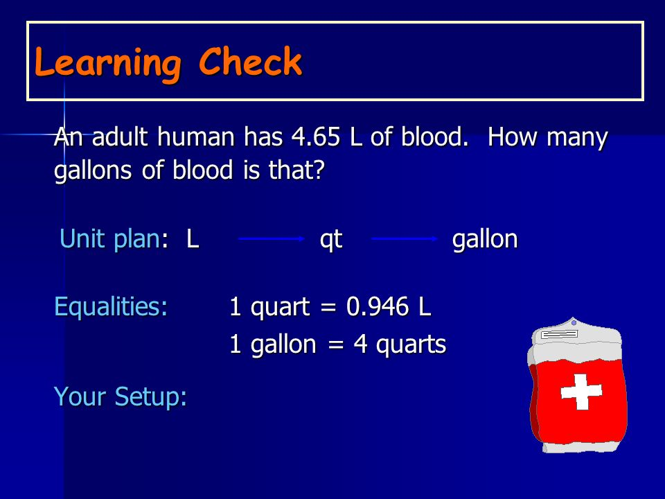 An adult human has 4.65 L of blood. How many gallons of blood is that