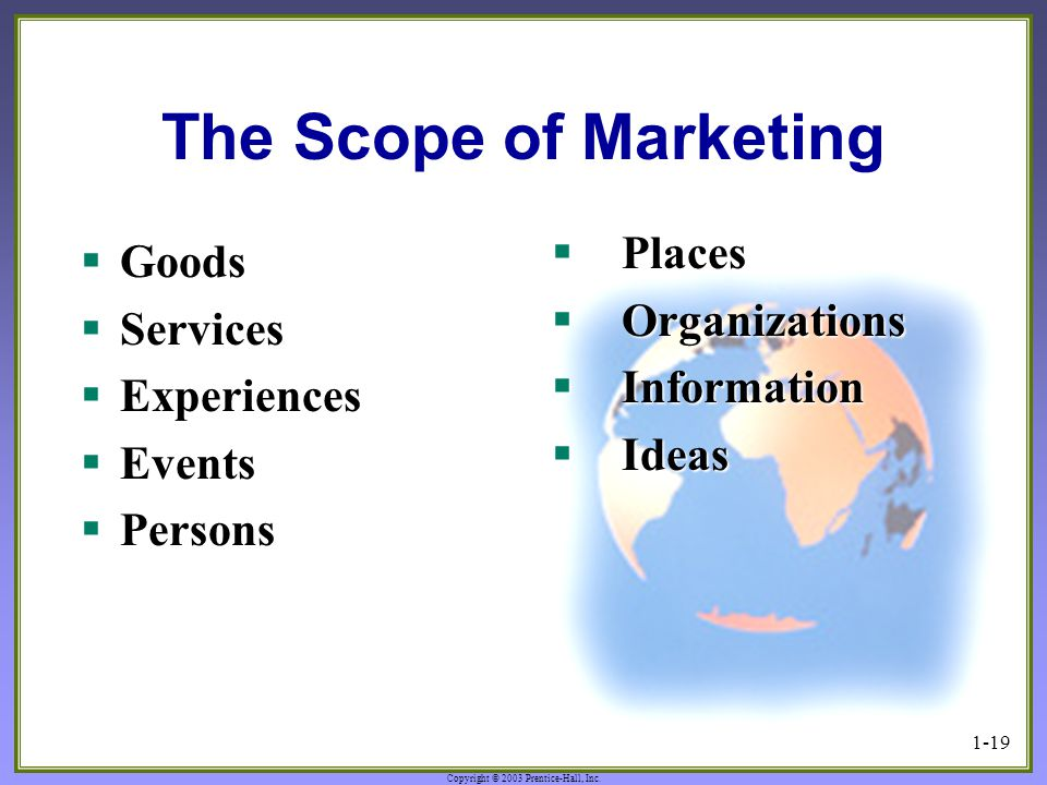 The Scope of Marketing Places Goods Organizations Services Information