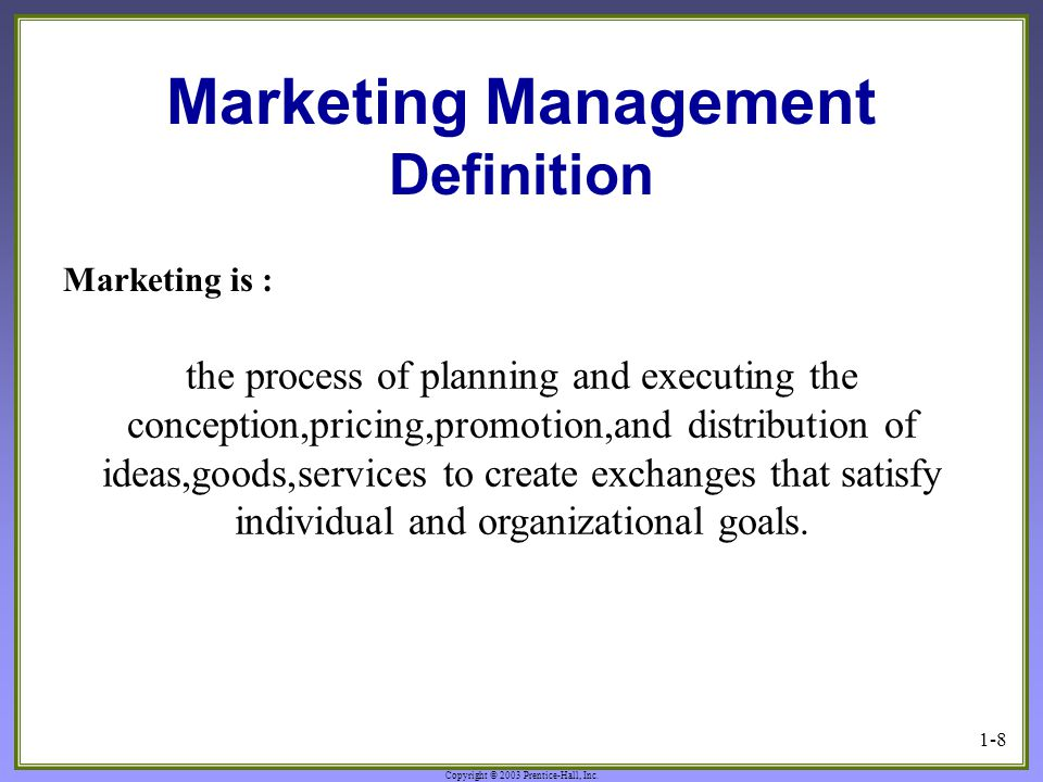 Marketing Management Definition