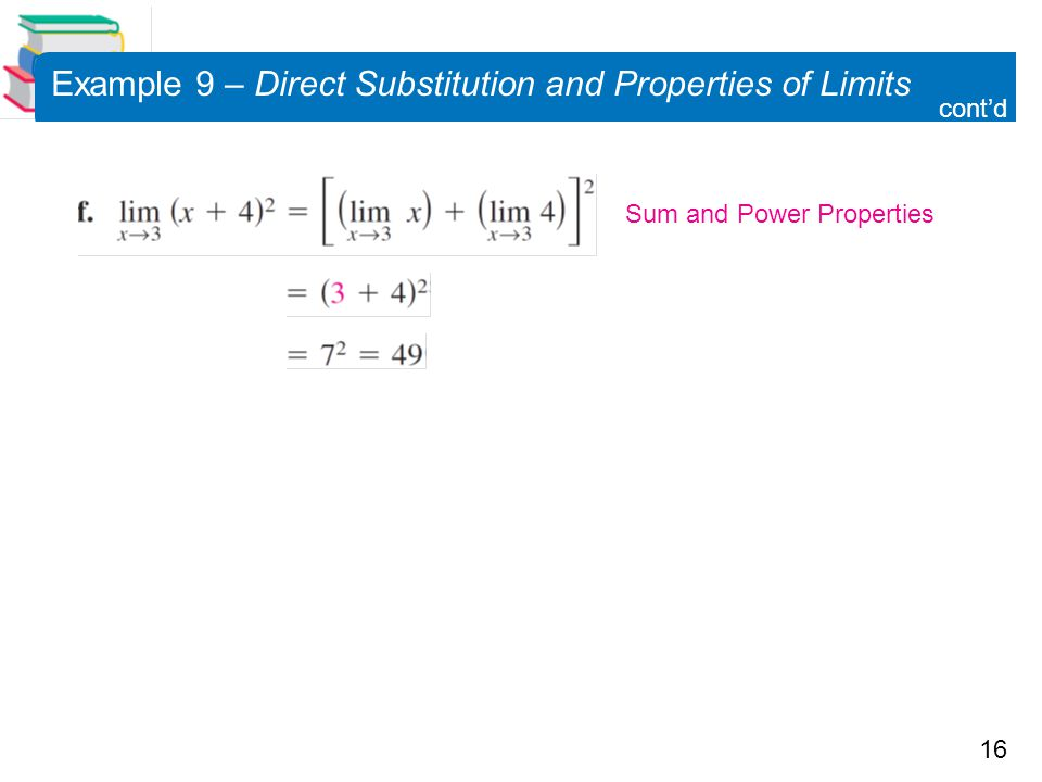 Example 9 – Direct Substitution and Properties of Limits