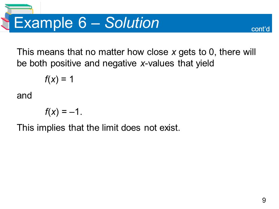 Example 6 – Solution cont'd. This means that no matter how close x gets to 0, there will be both positive and negative x-values that yield.