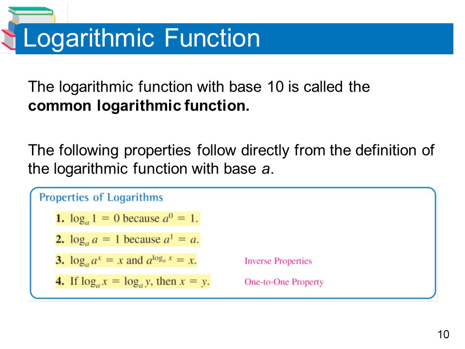 Logarithmic Function The logarithmic function with base 10 is called the common logarithmic function.