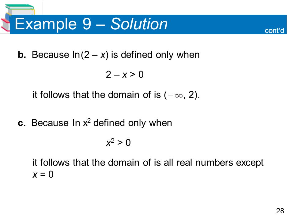 Example 9 – Solution b. Because ln (2 – x) is defined only when