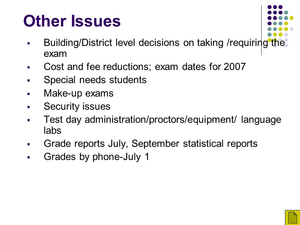 Other Issues Building/District level decisions on taking /requiring the exam. Cost and fee reductions; exam dates for 2007.