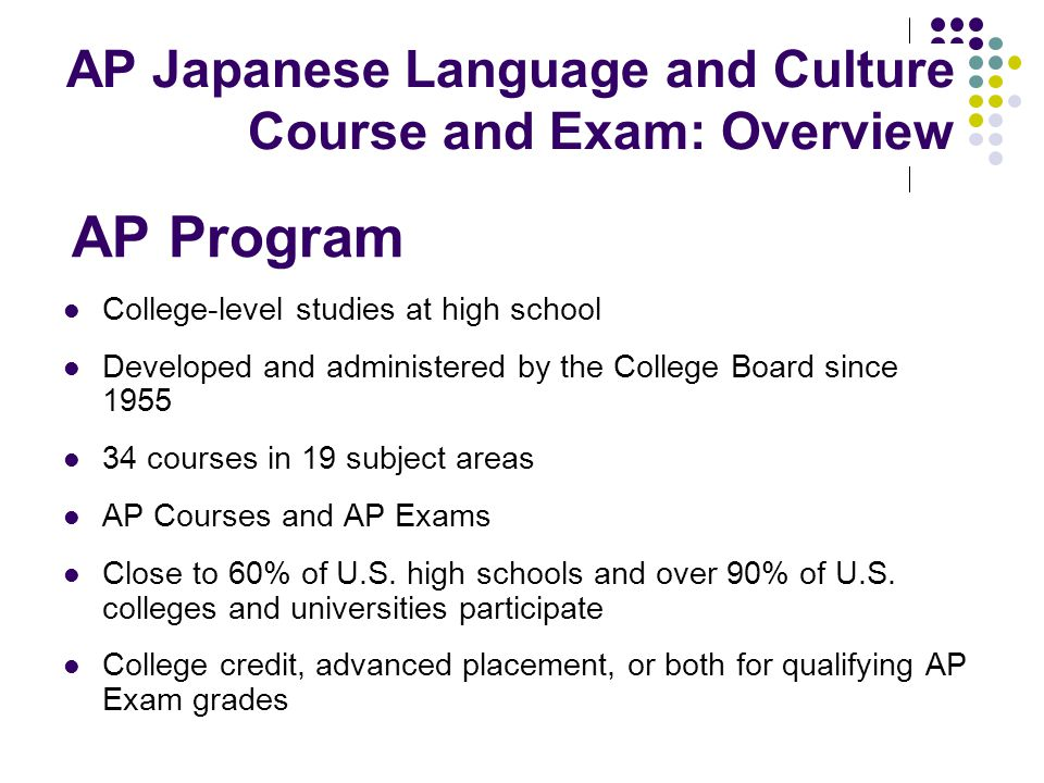 AP Program AP Japanese Language and Culture Course and Exam: Overview