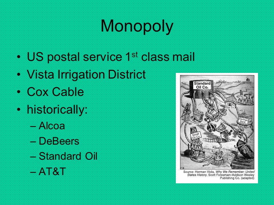 Monopoly US postal service 1st class mail Vista Irrigation District