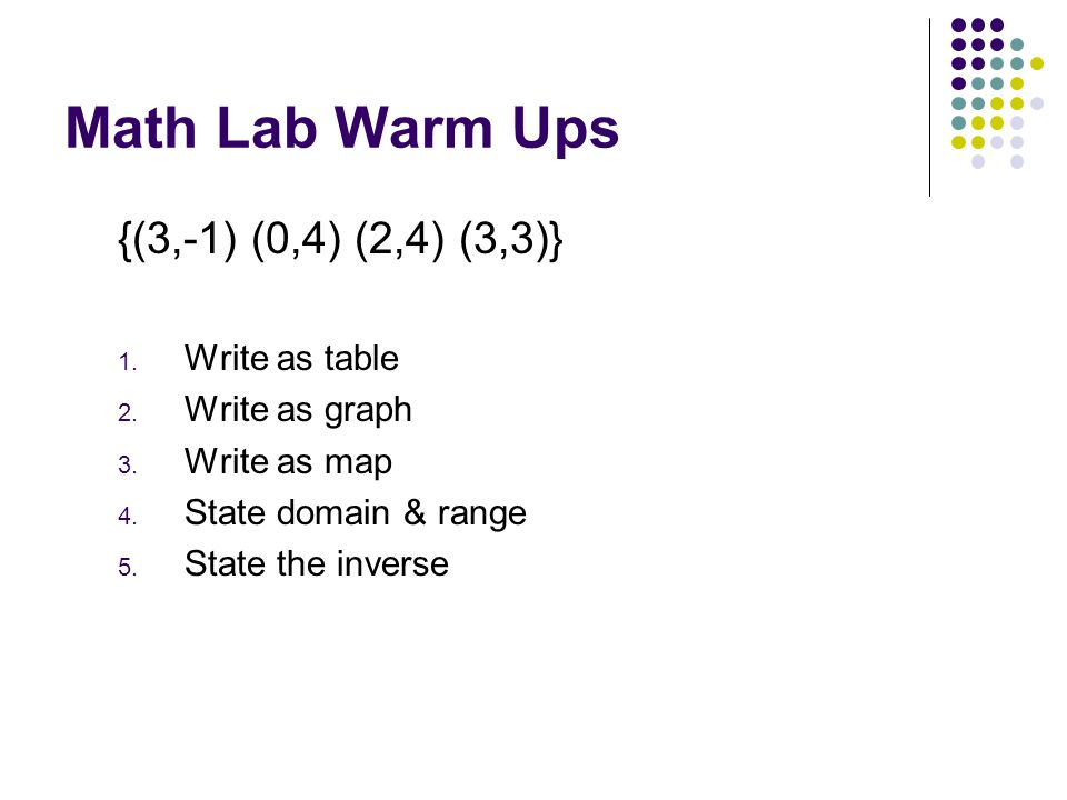 Math Lab Warm Ups {(3,-1) (0,4) (2,4) (3,3)} Write as table