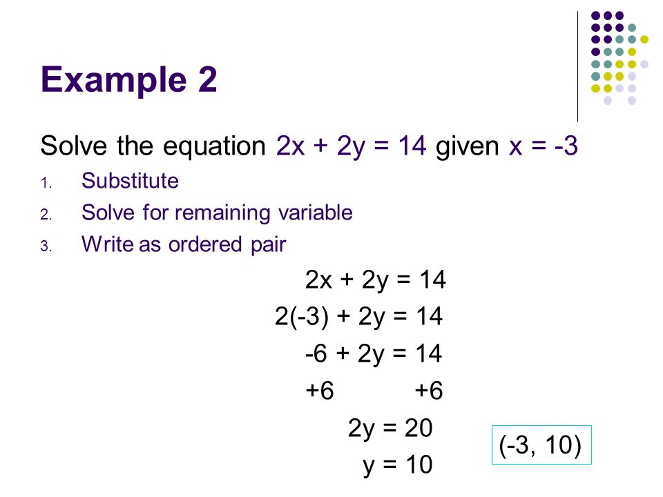 Example 2 Solve the equation 2x + 2y = 14 given x = -3 2(-3) + 2y = 14