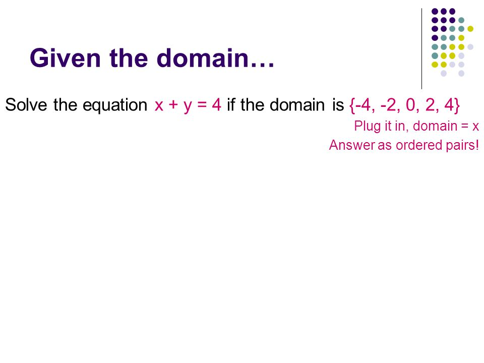 Given the domain… Solve the equation x + y = 4 if the domain is {-4, -2, 0, 2, 4} Plug it in, domain = x.