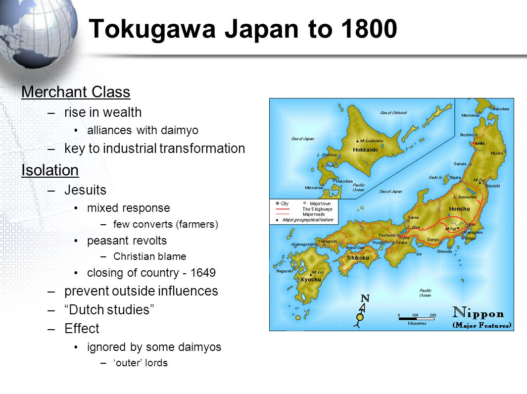 Tokugawa Japan to 1800 Merchant Class Isolation rise in wealth