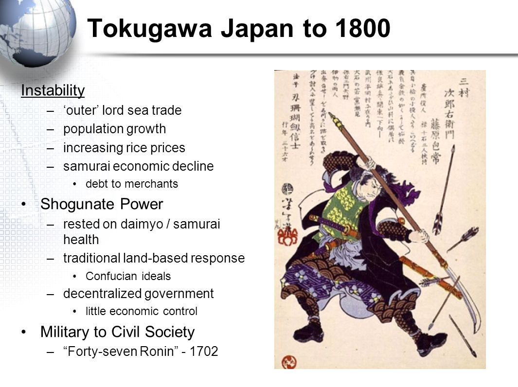 Tokugawa Japan to 1800 Instability Shogunate Power