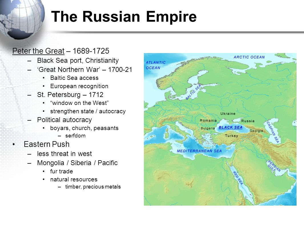 The Russian Empire Peter the Great – 1689-1725 Eastern Push