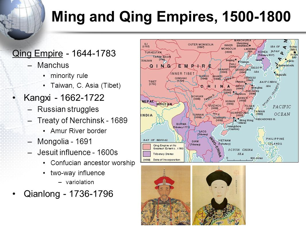 Ming and Qing Empires, 1500-1800 Qing Empire - 1644-1783