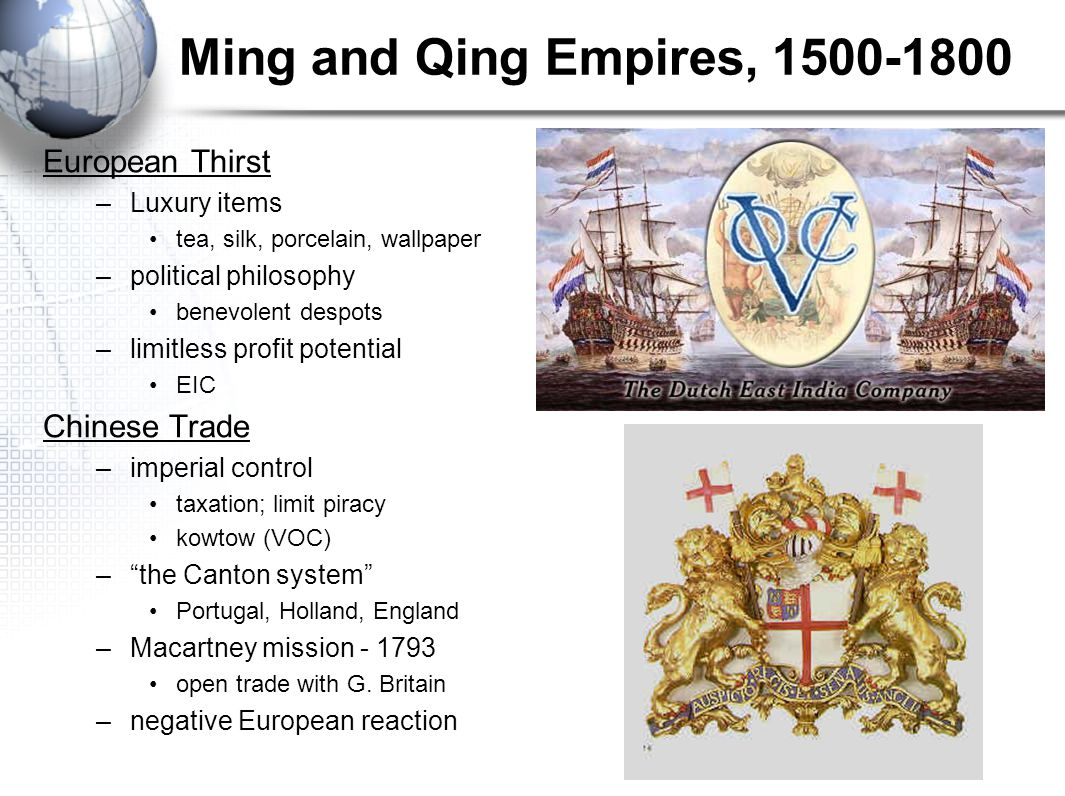 Ming and Qing Empires, 1500-1800 European Thirst Chinese Trade