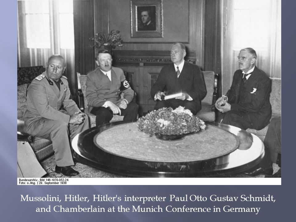 Mussolini, Hitler, Hitler s interpreter Paul Otto Gustav Schmidt, and Chamberlain at the Munich Conference in Germany