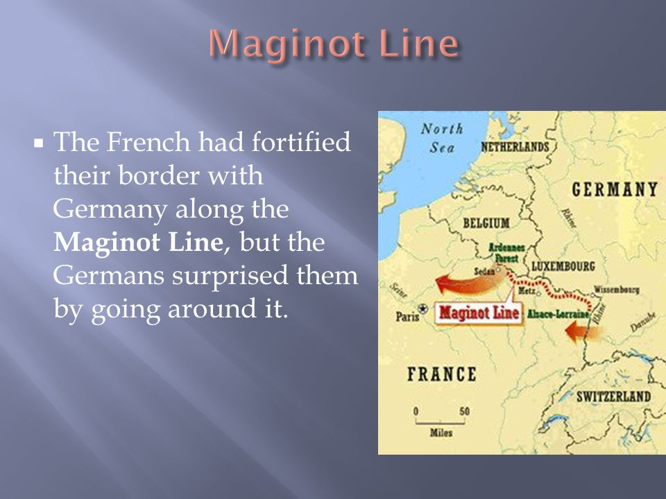 Maginot Line The French had fortified their border with Germany along the Maginot Line, but the Germans surprised them by going around it.
