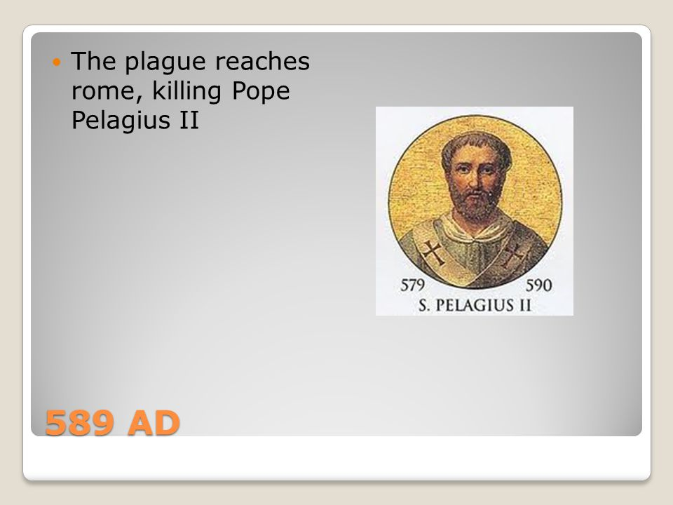 The plague reaches rome, killing Pope Pelagius II