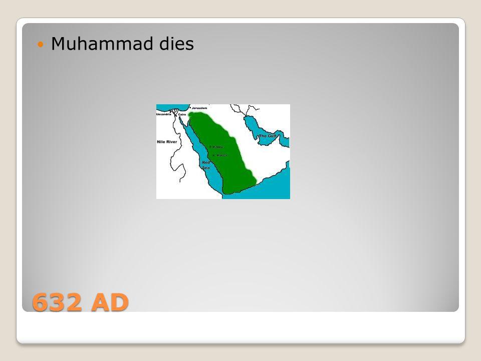 Muhammad dies 632 AD