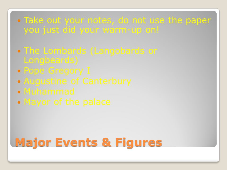 Take out your notes, do not use the paper you just did your warm-up on!