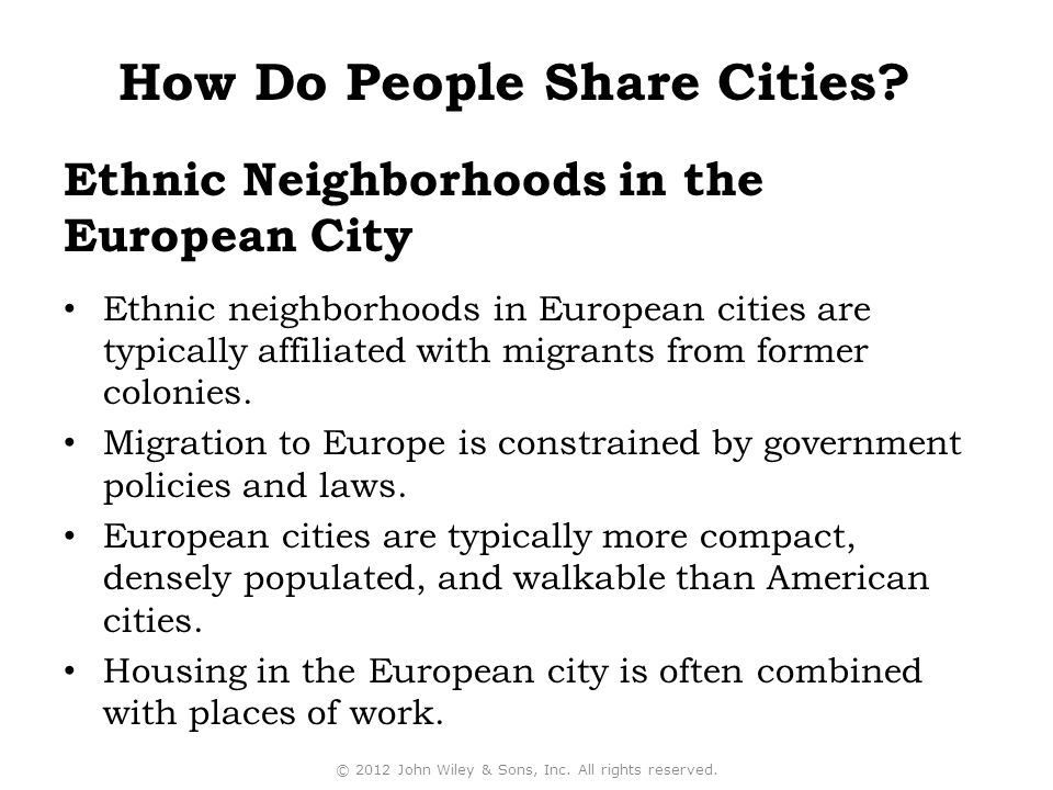 Ethnic Neighborhoods in the European City