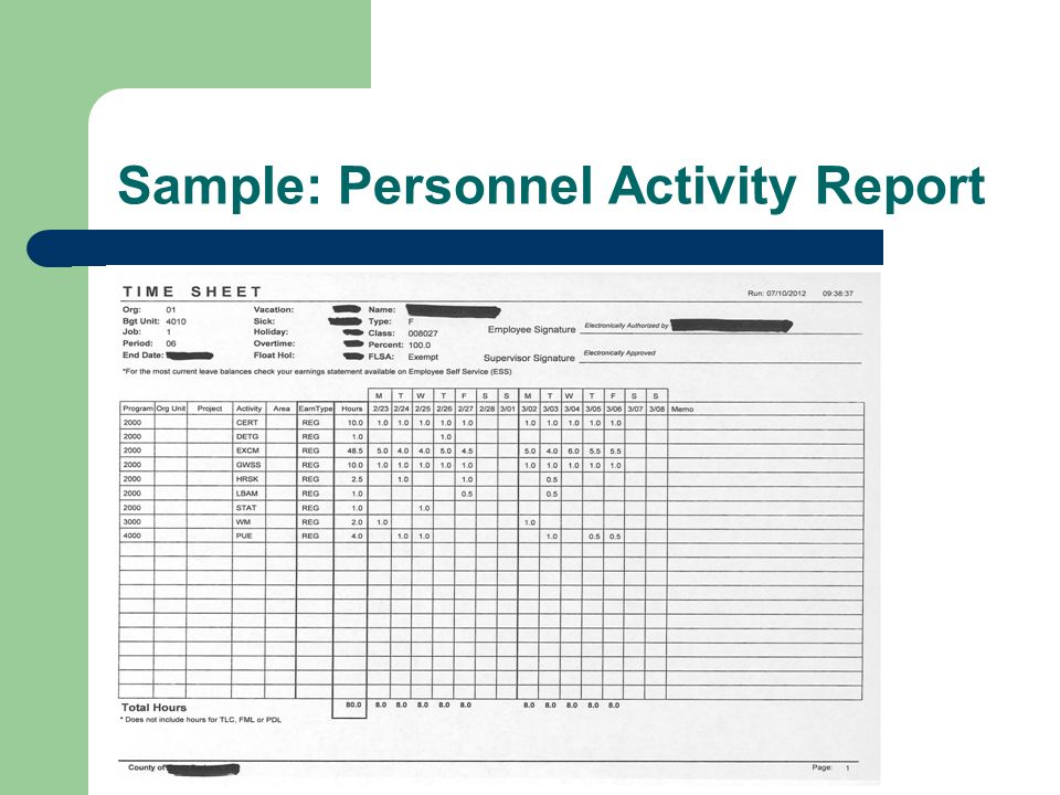 Sample: Personnel Activity Report