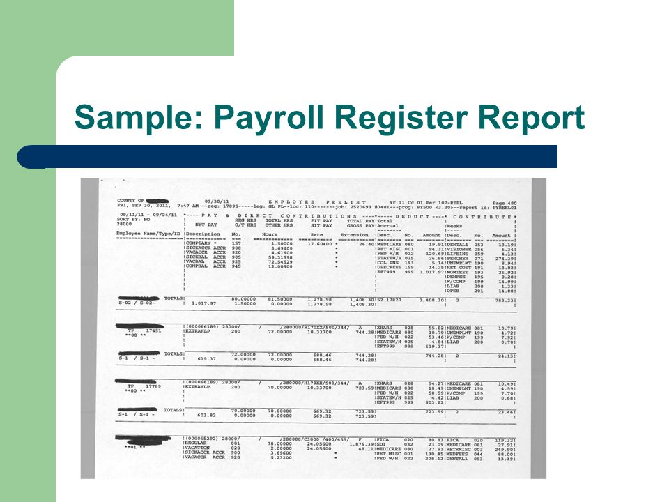 Sample: Payroll Register Report