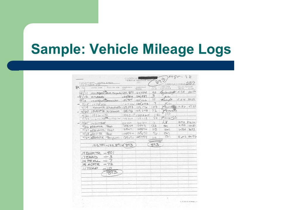 Sample: Vehicle Mileage Logs
