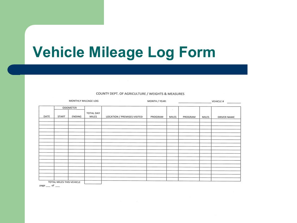 Vehicle Mileage Log Form