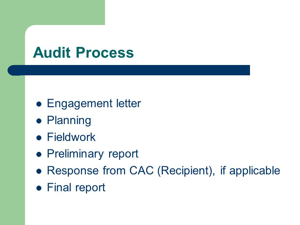Audit Process Engagement letter Planning Fieldwork Preliminary report