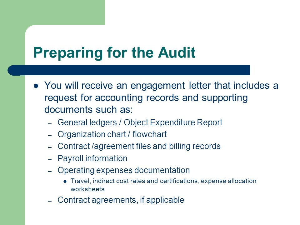 Preparing for the Audit