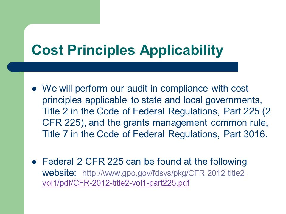 Cost Principles Applicability