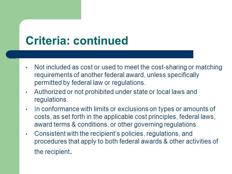 Criteria: continued