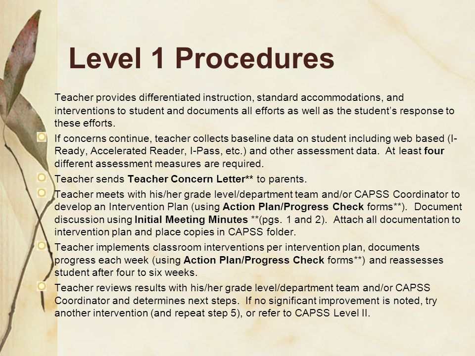 Level 1 Procedures